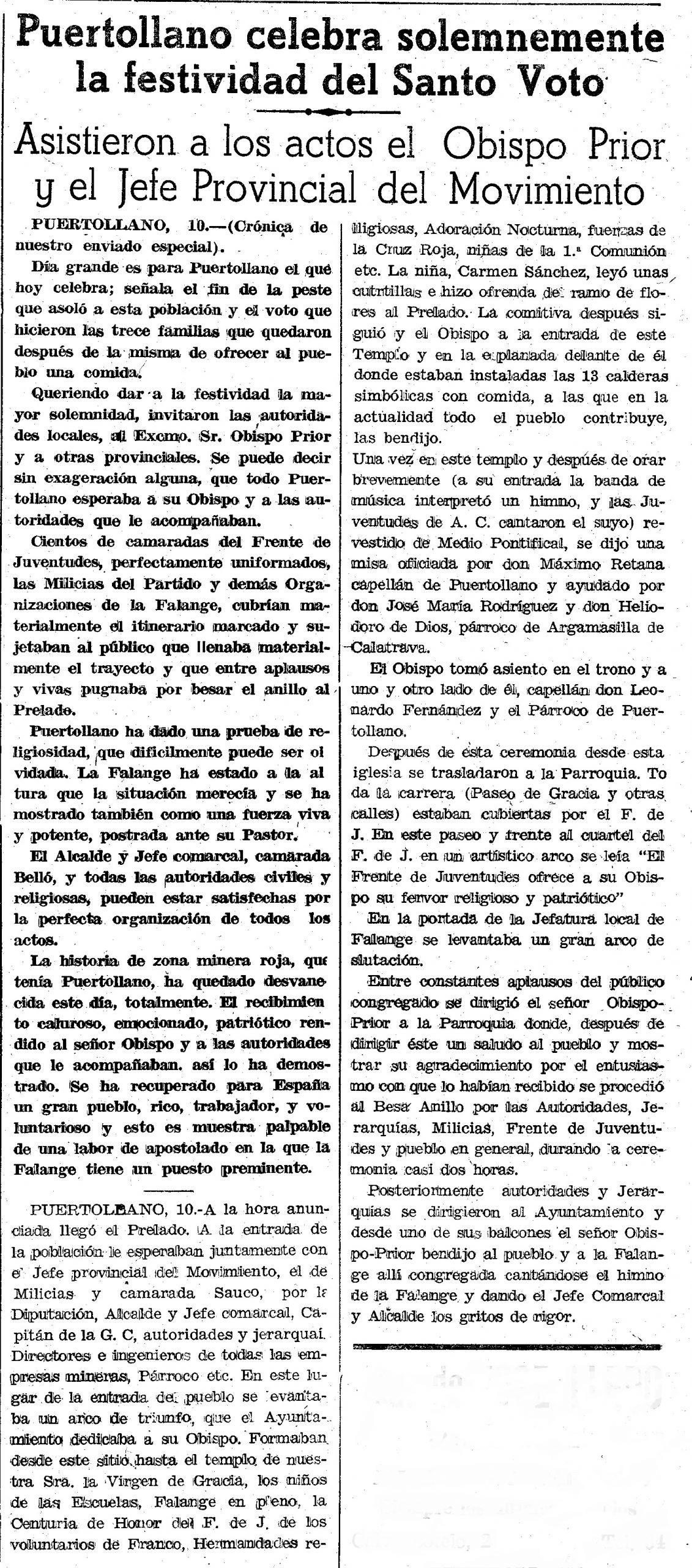Artículo del periódico Lanza de 1943 sobre el Santo Voto