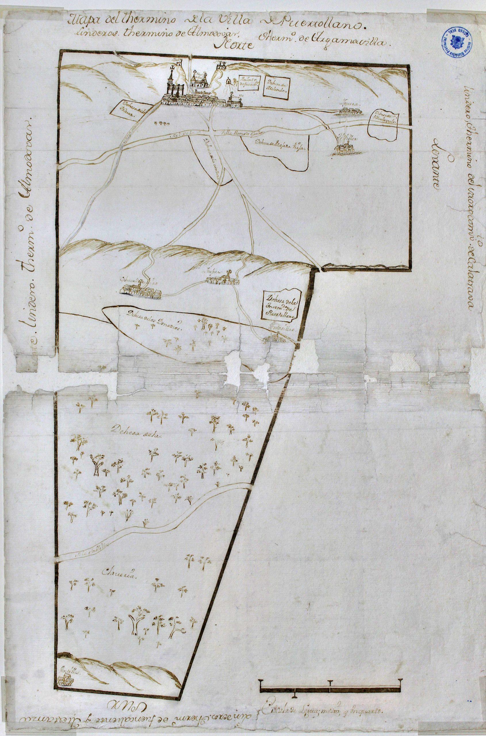 Primer mapa conocido de Puertollano