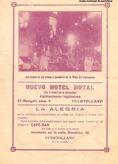 Anuncio del Hotel Royal en 1934 Archivo museo municipal
