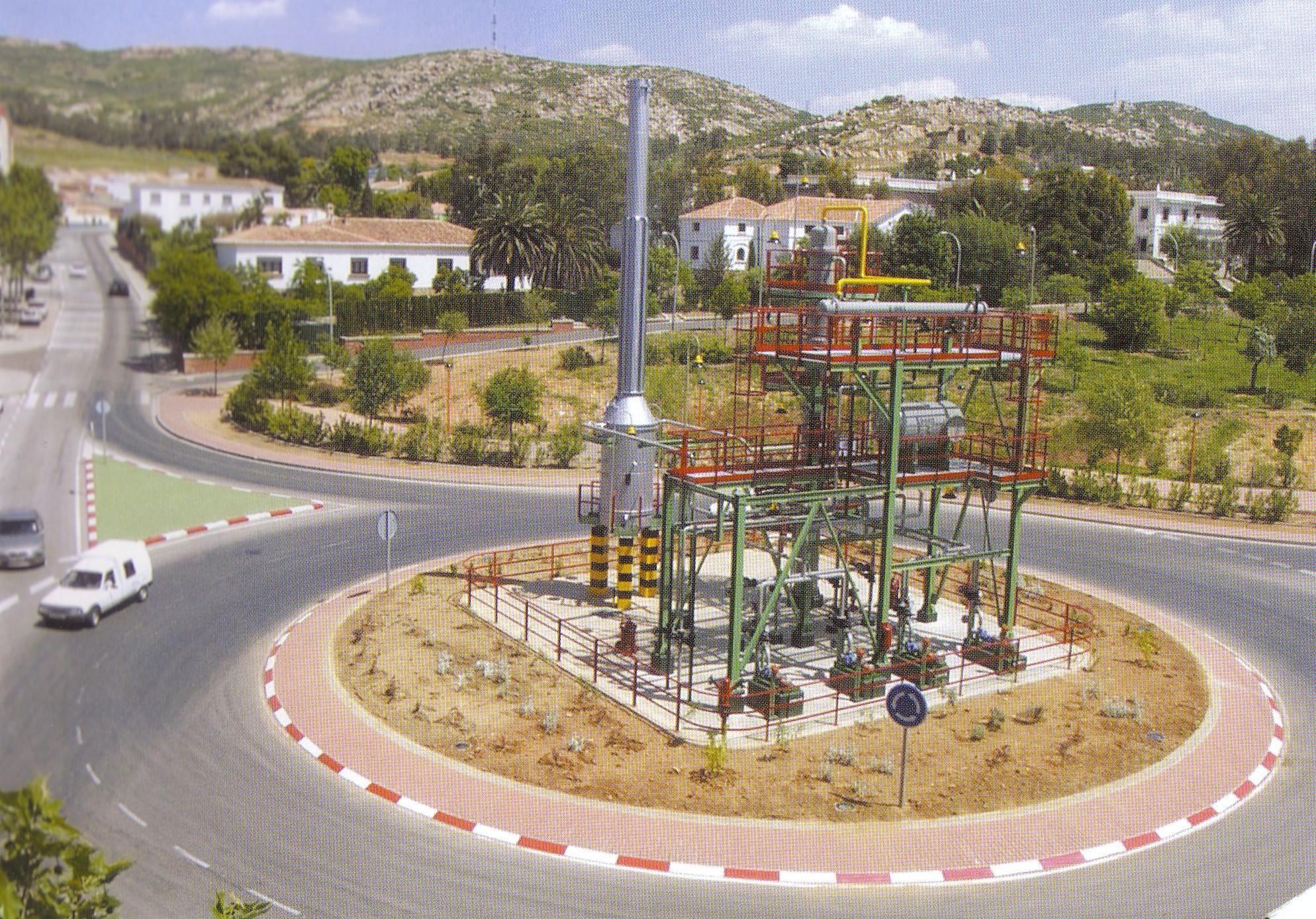 Monumento al Complejo Petroquímico en 2002 (cincuentenario de la Refinería en nuestra localidad)