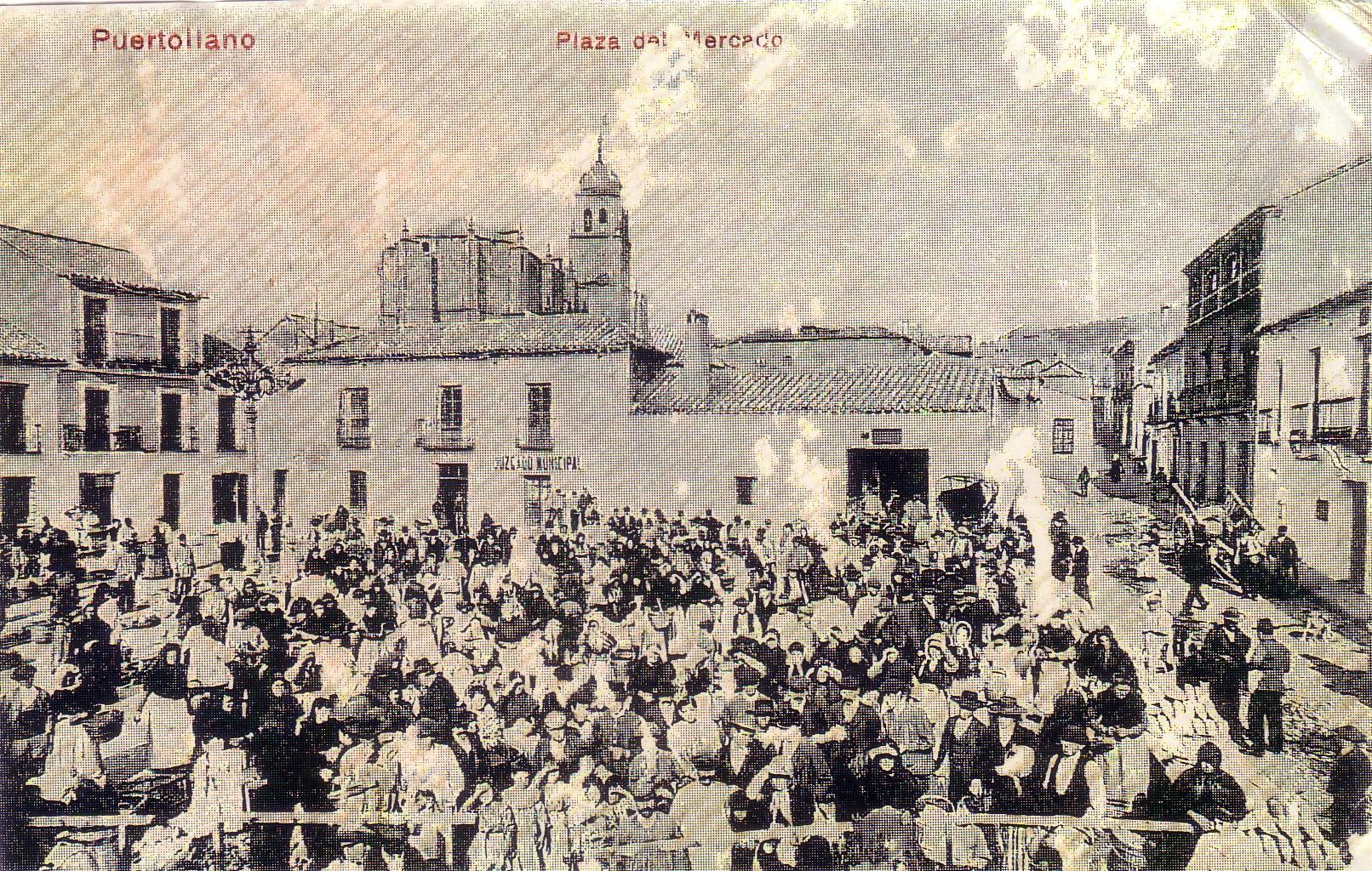 El mercado en la plaza del Ayuntamiento. Año 1906