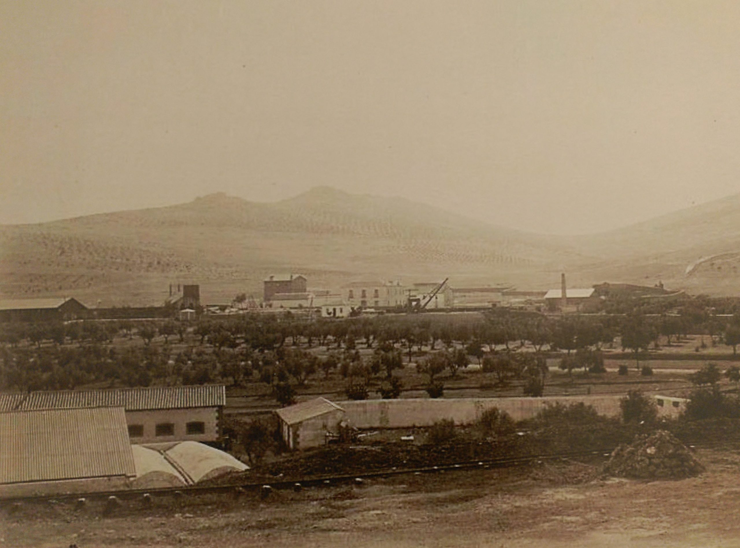 Vista general de Puertollano a finales del S. XIX. Archivo Histórico Nacional de Madrid