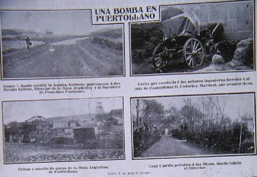 Bomba en Puertollano contra ingenieros de la Mina Argüelles. 1912. Vida Manchega