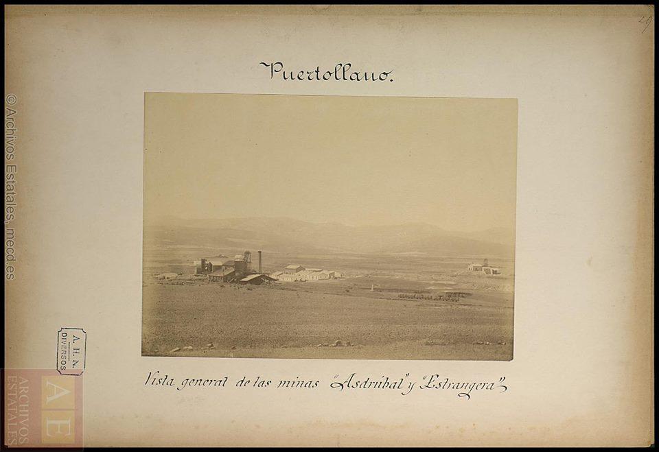 Vista general de las minas Asdrúbal y la Extranjera. Finales del S. XIX. Archivos Estatales