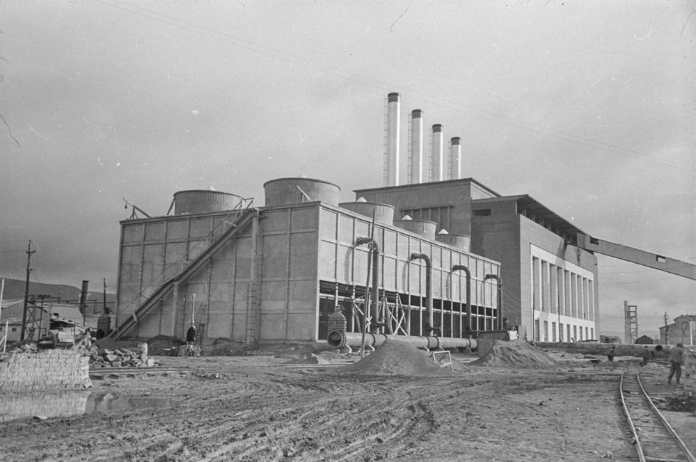Construcción de la central térmica 1952. Fotografía Wunderlich Otto