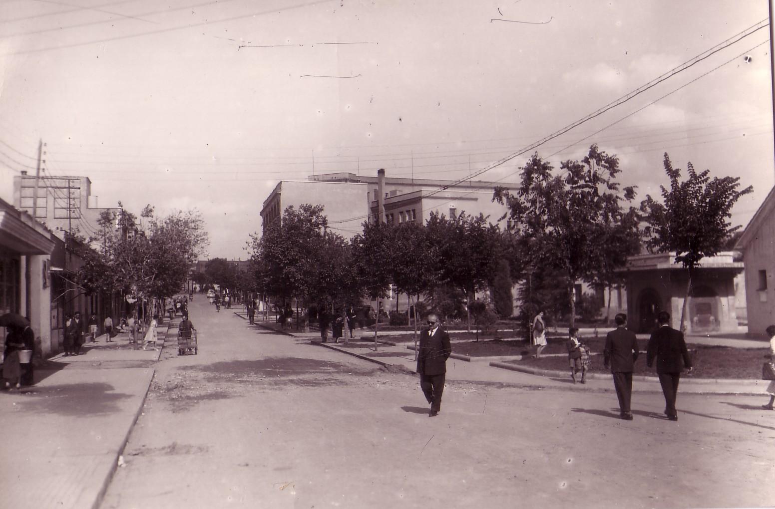 Avenida de los Mártires, a la derecha la fuente Calvo Sotelo y al final el Ambulatorio. Finales de los 60. Archivo F. Negrete