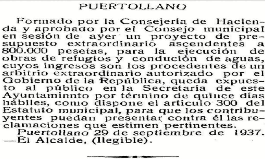 Texto en el que se aprobó en 1937 por el Ayuntamiento la construcción de unos refugios