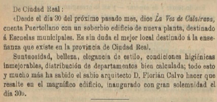 Construcción de las Escuelas Municipales por D. Florián Calvo. 1904