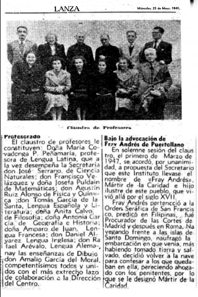 Claustro de profesores del Instituto Fray Andrés. 1949