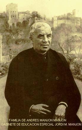 Padre Manjón fundador de las escuelas del Ave María (hoy Colegio de Ramón y Cajal). 1916.