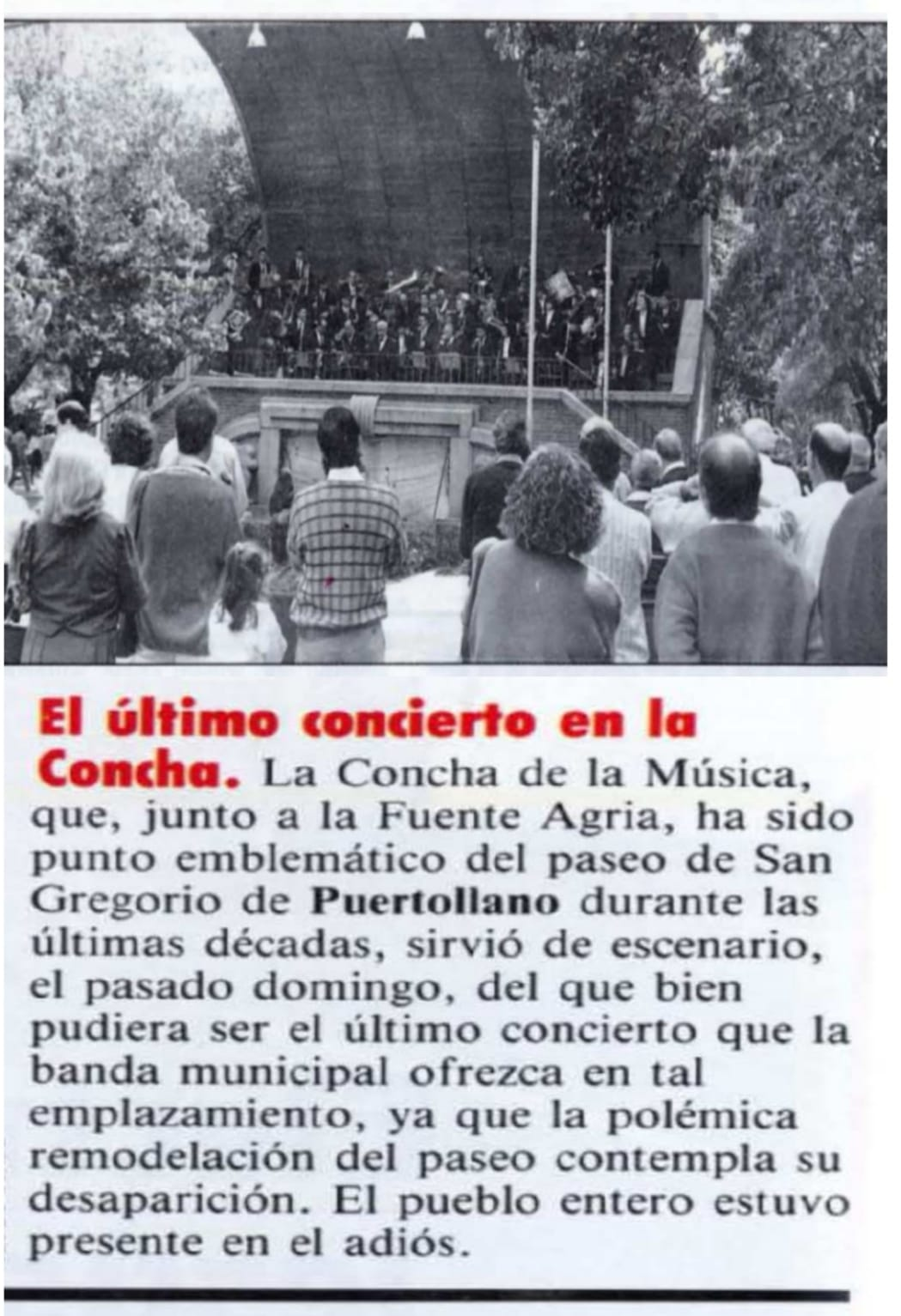 Último concierto en la antigua Concha de la Música de Puertollano. Octubre 1990
