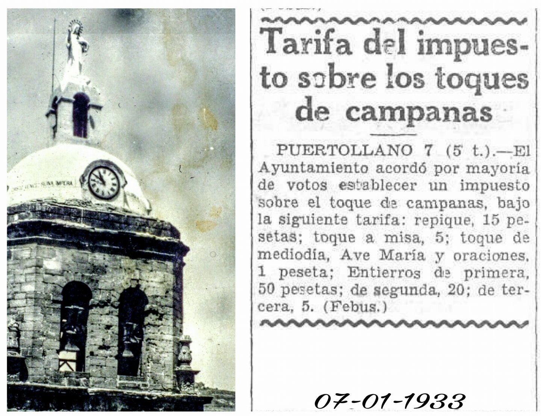 Tarifas de los toques de campana. 1933