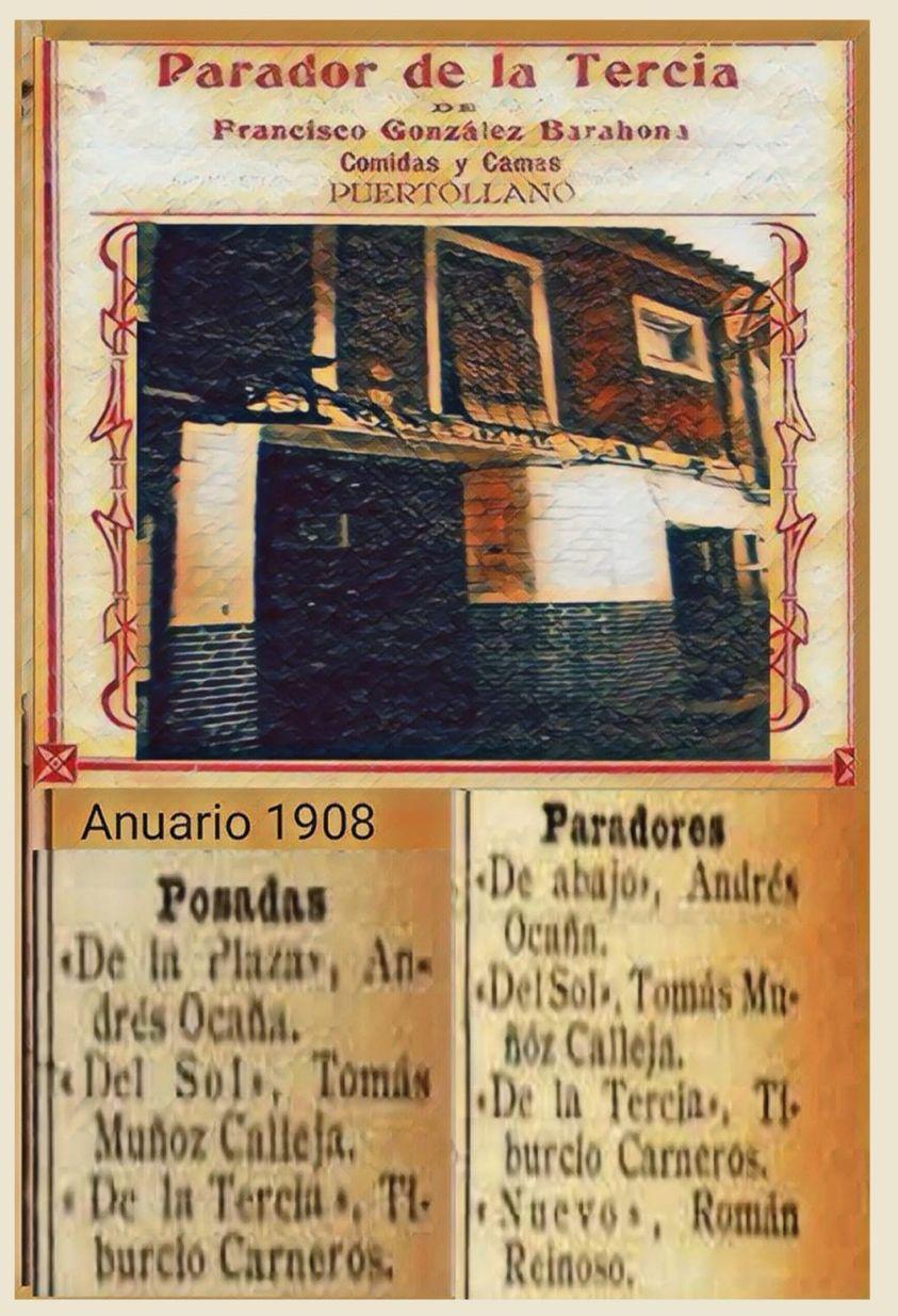 El parador de la Tercia junto a otros paradores y posadas de Puertollano en el Anuario de Comercio 1908.